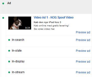 Der er disse 4 annonceringsmuligheder til rådighed på YouTube. In-stream dækker over prerolls, mens de andre 3 formater er statiske annoncer.
